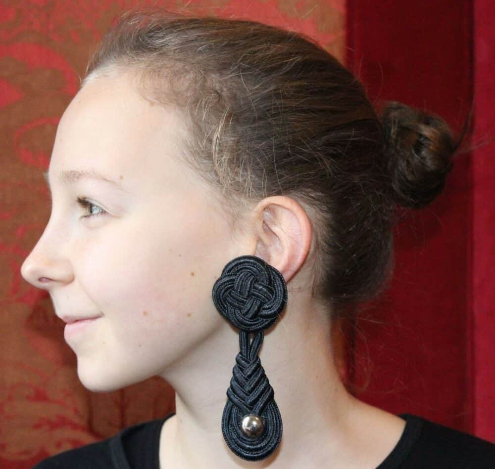 1er Etage Black passementerie chrome vintage earrings 90s