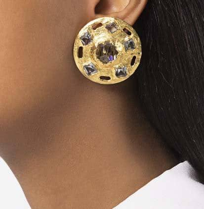 Claude Montana faceted glass gold vintage earrings 80s