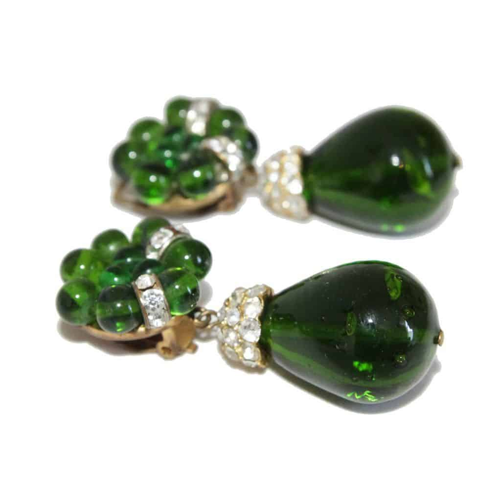 French 60s Green Glass drop & flower Earrings 60s