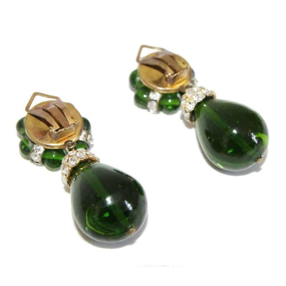 French 60s Green Glass drop & flower Earrings 60s