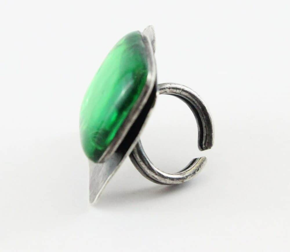 Reserved - Jacques Gautier Impressive Emerald Enemalled square vintage ring 60s