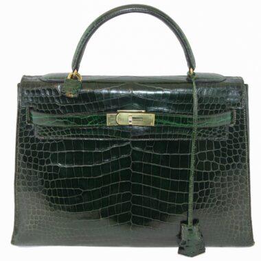 Hermès Vintage Green Croco Kelly 60s
