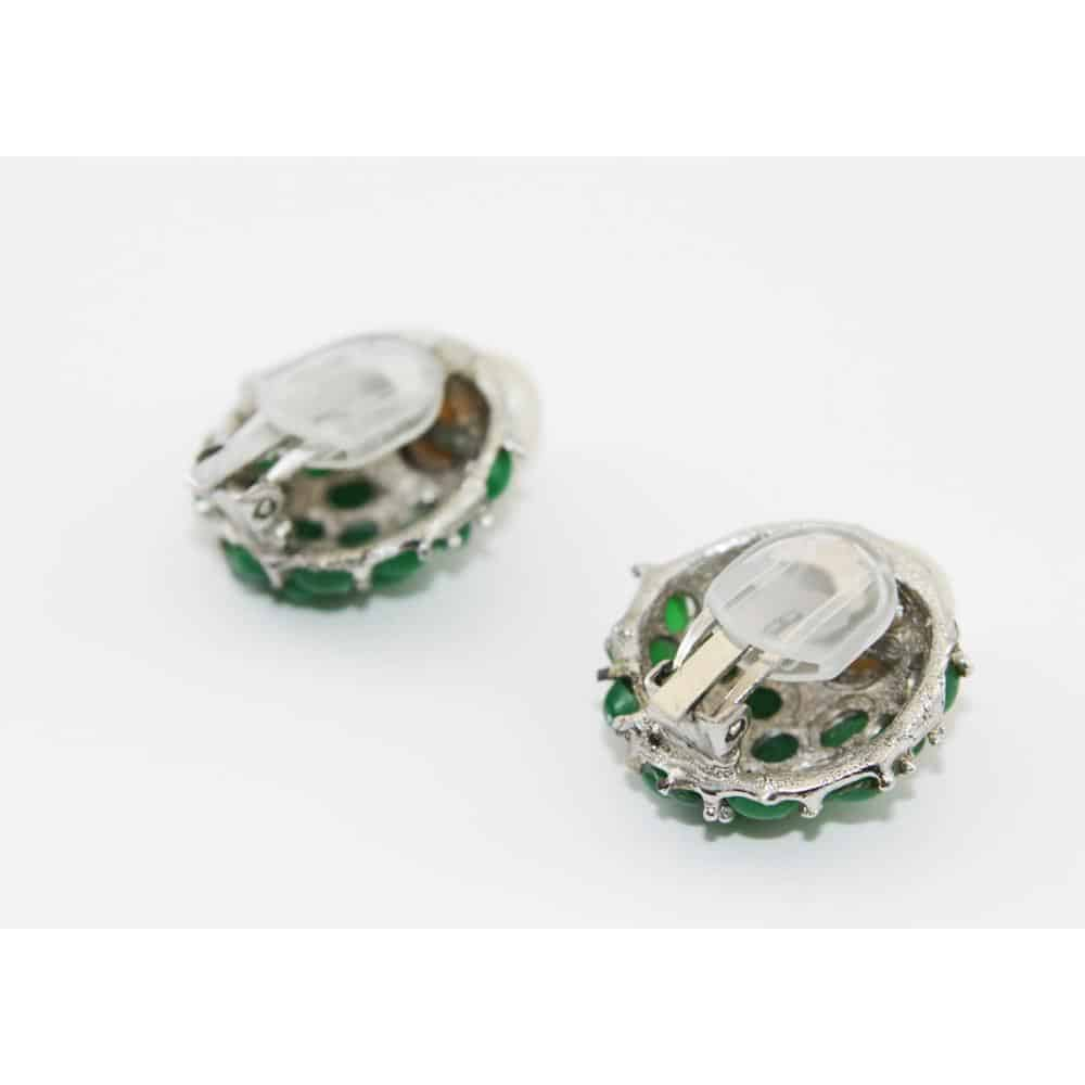 Emerald Glass Cabochons Earrings of the 60s
