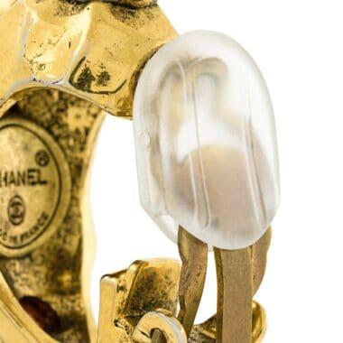 Chanel Vintage red and crystal Loop earrings 80s