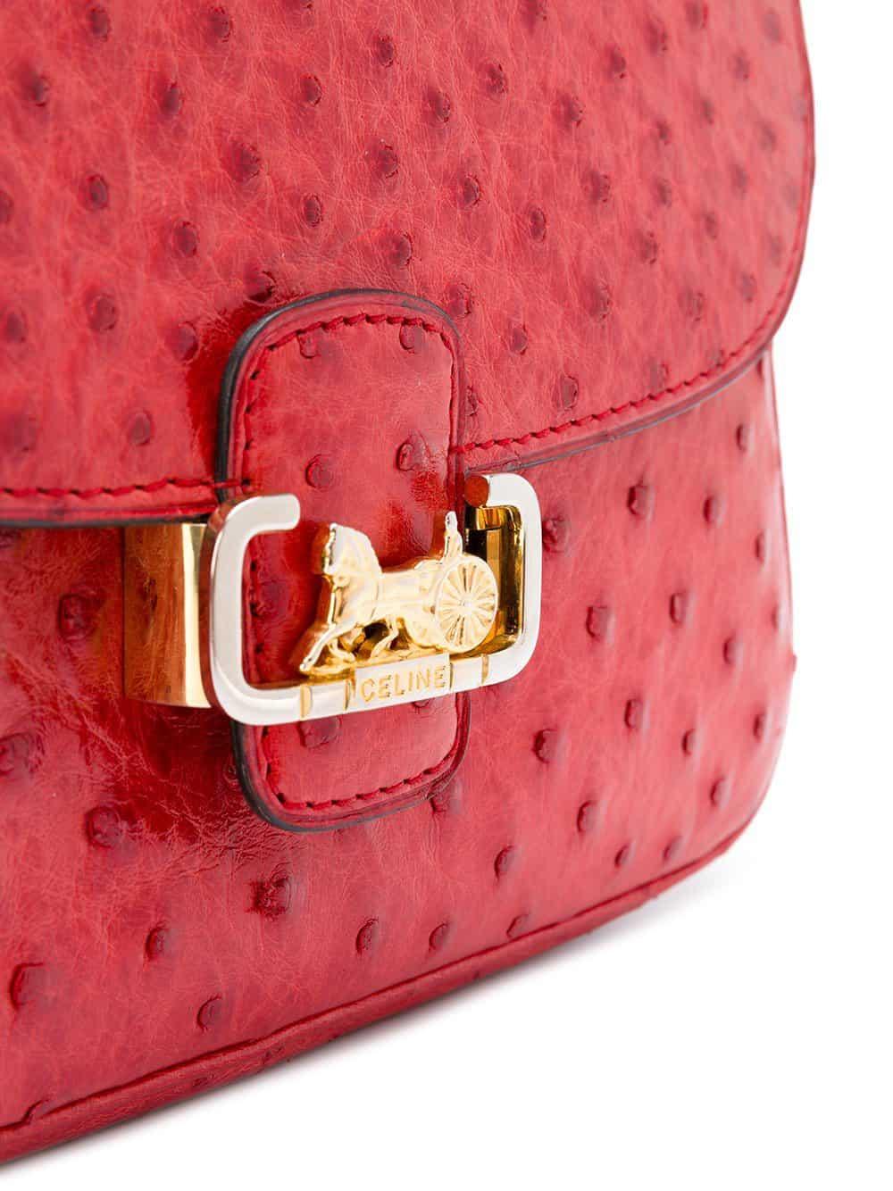 Céline Rare Red Ostrich leather bag 1968