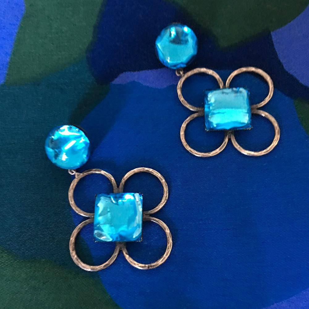 Reserved - Jacques Gautier Turquoise Flowers Earrings 60s