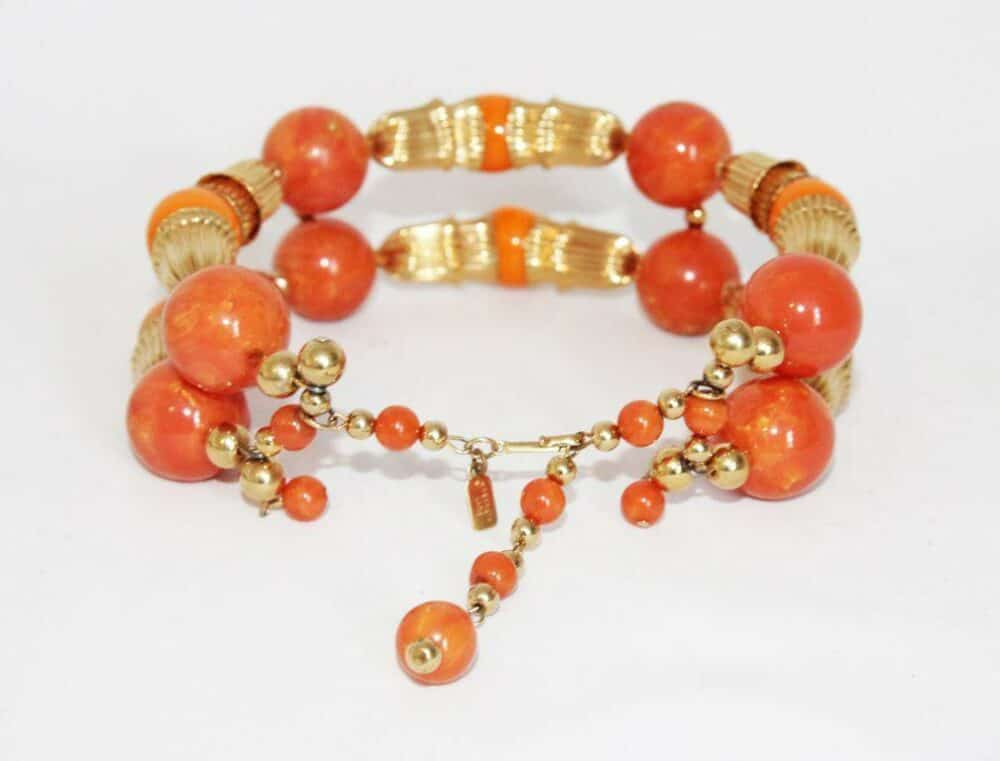 Summer Kenneth Jay Lane vintage necklace coral choker of the 70s