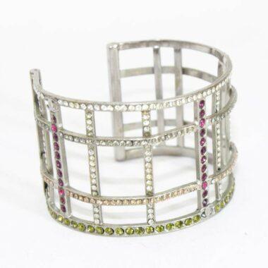 Chanel multi-colored crystal silver cuff of 1998