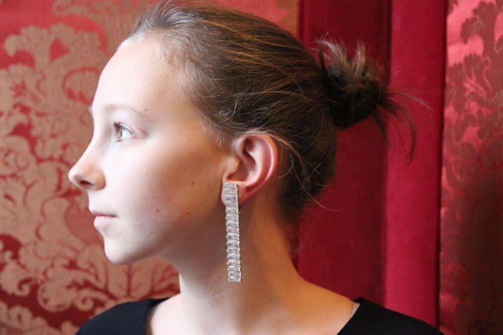Stunning Lanvin long baguettes crystal earrings, 1991