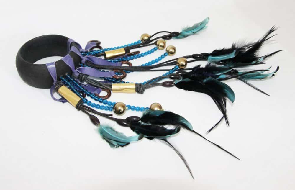 "Scherrer vintage ""catwalk"" feathers bracelet 80s"