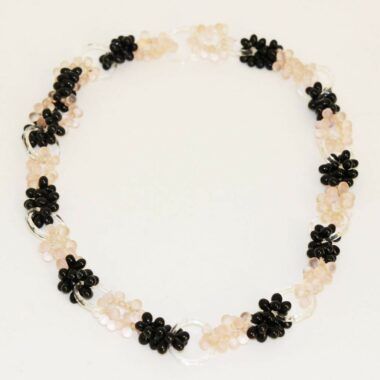French 30s pink & black glass cluster necklace