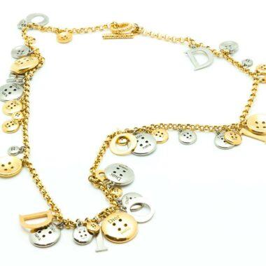 Christian Dior Buttons Vintage Collector bi-color Necklace 1999