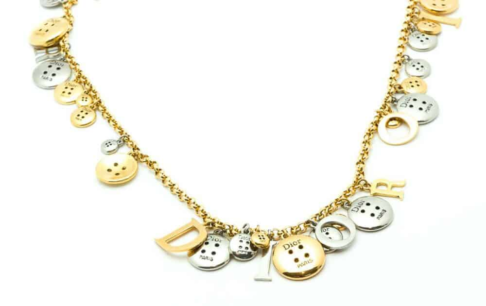 Christian Dior Buttons Vintage Collector bi-color Necklace 1999