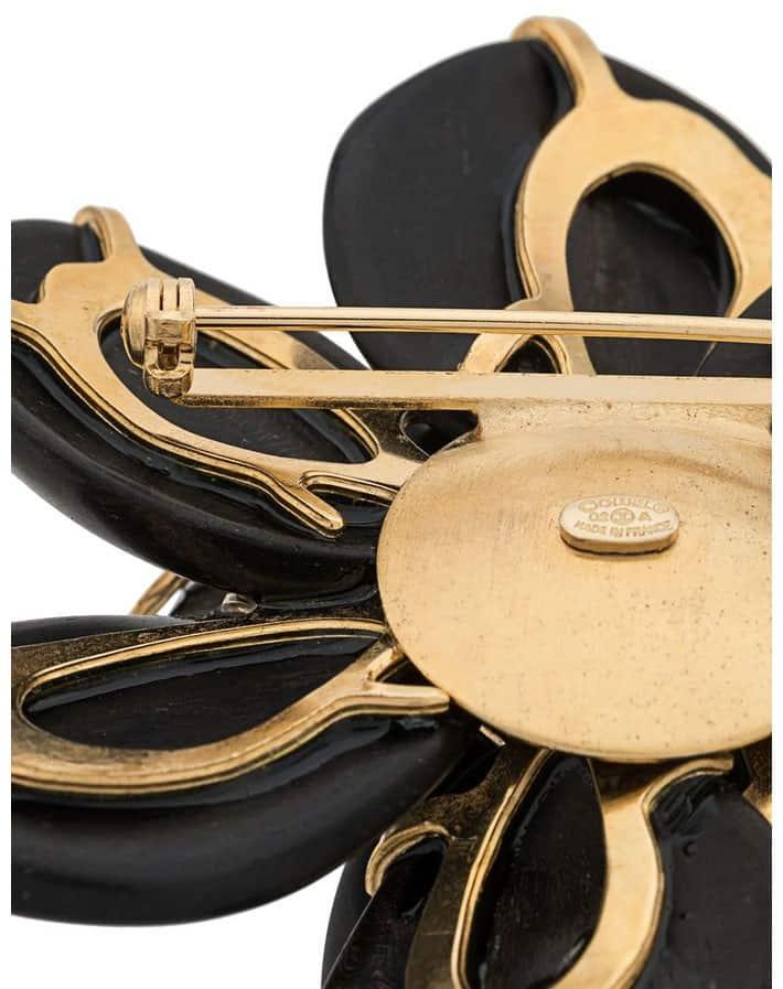 Chanel Ebony Camelia Vintage Brooch 2002