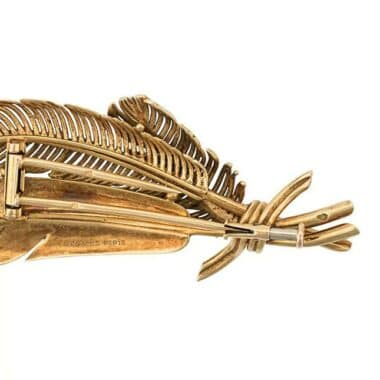 Hermès Leafs 18 kt gold vintage brooch c.1955