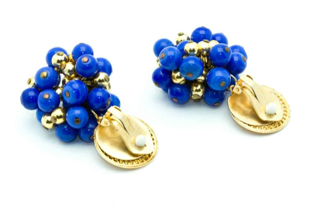 Vintage Unique Clip-on Earrings Majorelle blue 70s