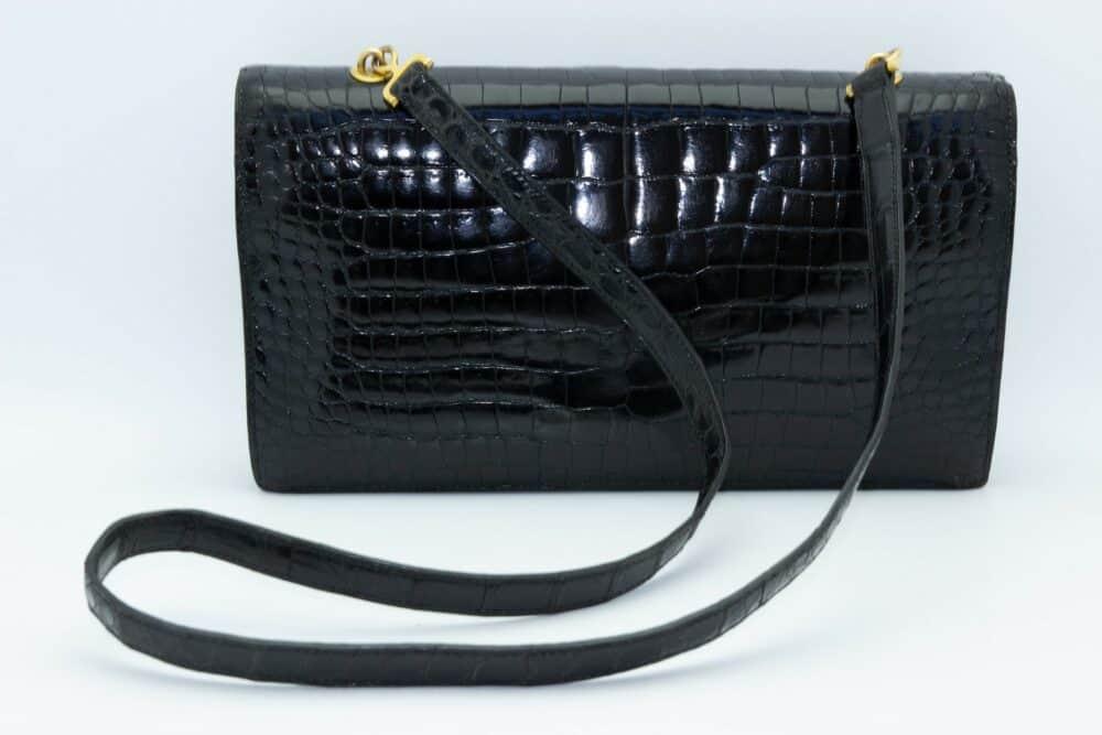 Hermes The Palonier black croco Vintage bag 60s