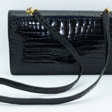 Hermes The Palonier black croco Vintage bag 60s