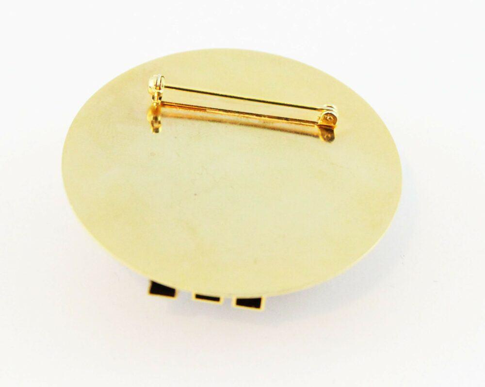 Claire Dévé Black cabochon modernist vintage brooch 80s
