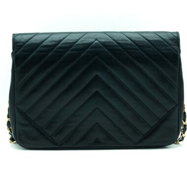 Chanel Vintage Black Chevron Handbag 80s