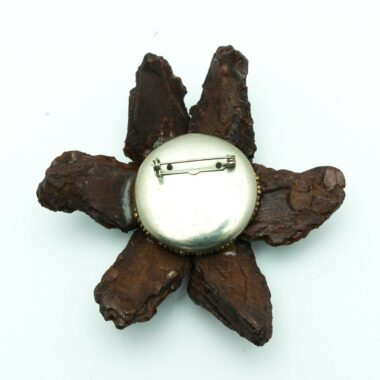 Unique Vintage Wood Flower Brooch 60s