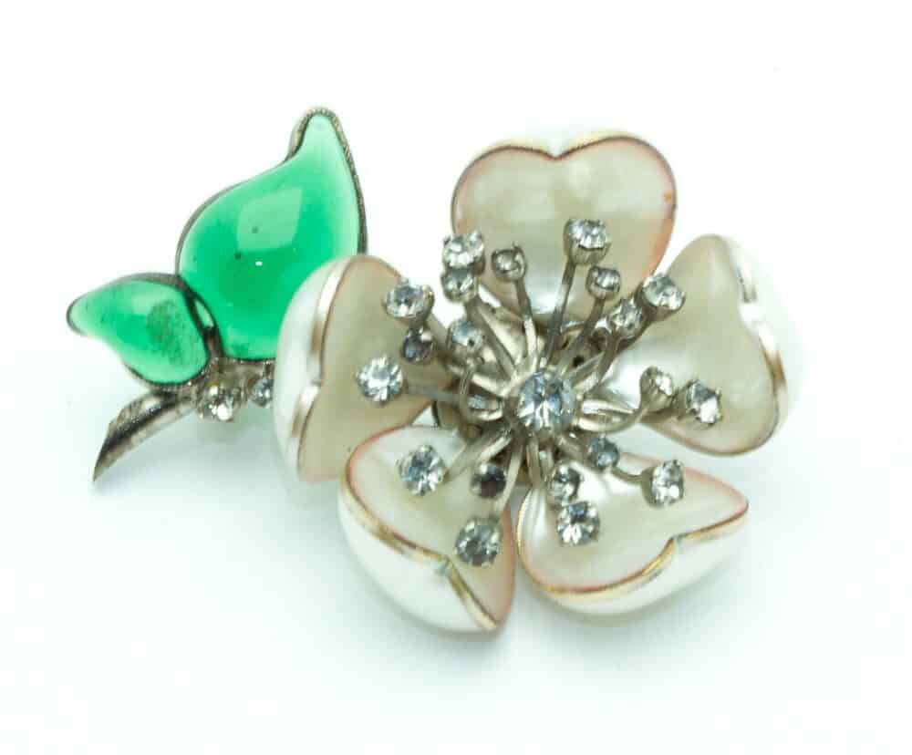 RESERVED - Chanel Gripoix Camelia Earrings & Vintage Brooch 60s