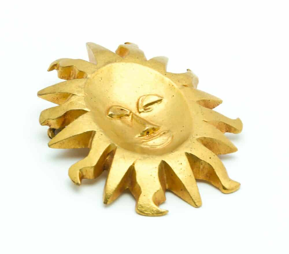 Line Vautrin Collector Vintage Mask Sun Brooch 50s