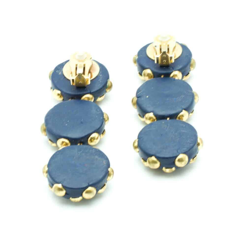 Unique Long Vintage Blue clip-on Earrings 80s