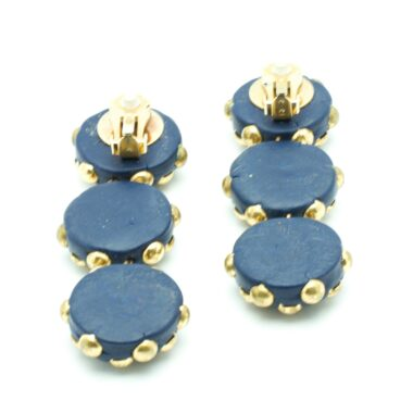 Unique Long Vintage Blue clip-on Earrings 80s
