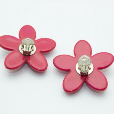Reserved Unique Vintage Flower clip-on Earrings 60s