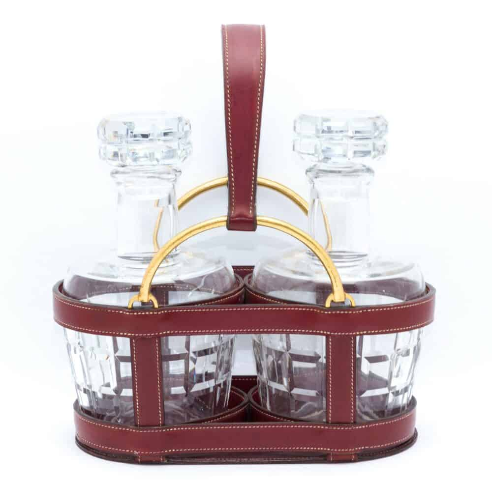 Hermes Collector Decanter Holder & baccarat glasses c.1960