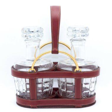 Hermes Collector Decanter Holder & baccarat glasses c.1960