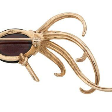 Art Bird Vintage Brooch Garnet Cabochon 14K Gold 60s