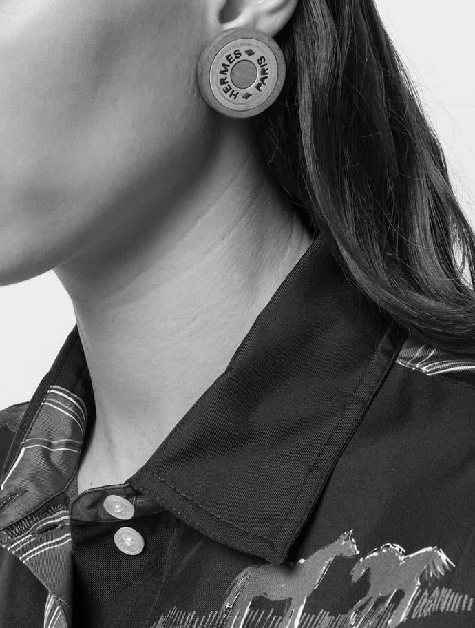 Hermes vintage wood logo earrings c.1990