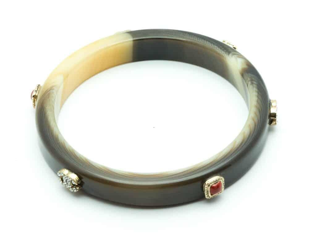 Chanel Vintage Ivory Resin bangle crystal c.2005
