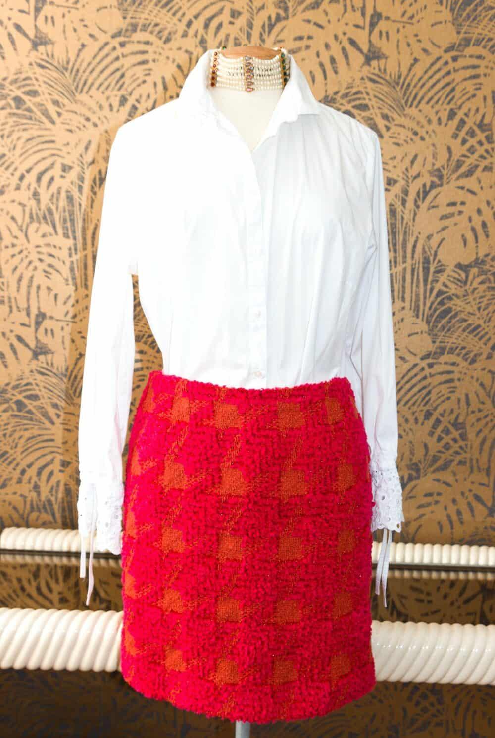 Chanel Gorgeous Tweed Fushia/orange Vintage Skirt 1994
