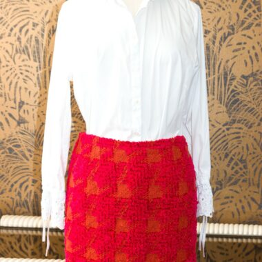 Chanel Gorgeous Tweed Fushia/orange Vintage Skirt 1994