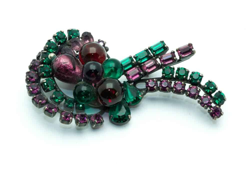 Unique vintage brooch crystal green & purple 50s