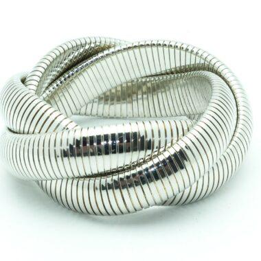Gorgeous Vintage snake bracelet silver plated metal 80s
