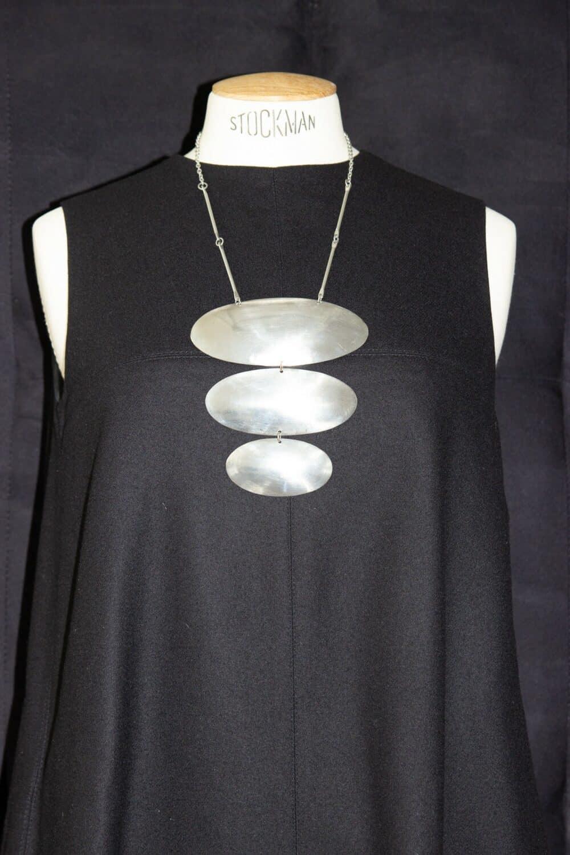 Unique vintage chrome necklace 70s