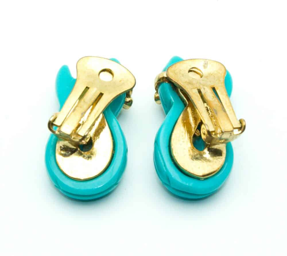 Valentino vintage earrings turquoise snake clip-on
