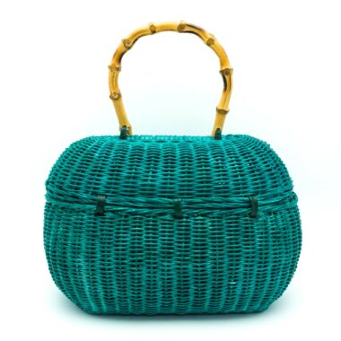 Unique Vintage bag turquoise and bamboo 60s