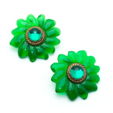 Unique Vintage clip-on earrings green daisy flowers 60s