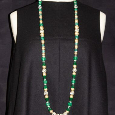 Unique Vintage glass crystal pearls necklace 30s