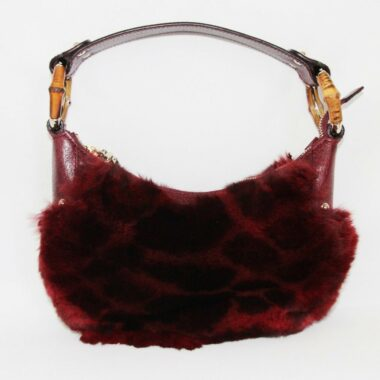 STUNNING GUCCI FUR & BAMBOO BAG