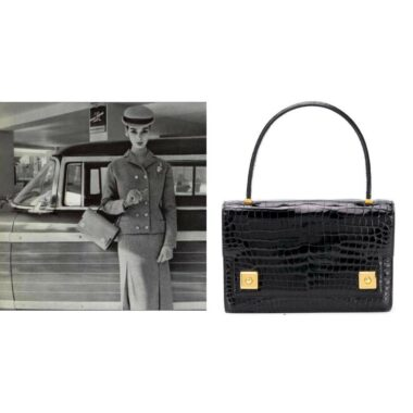 Hermes Vintage The Piano Black porosus crocodile Audrey Hepburn 60s