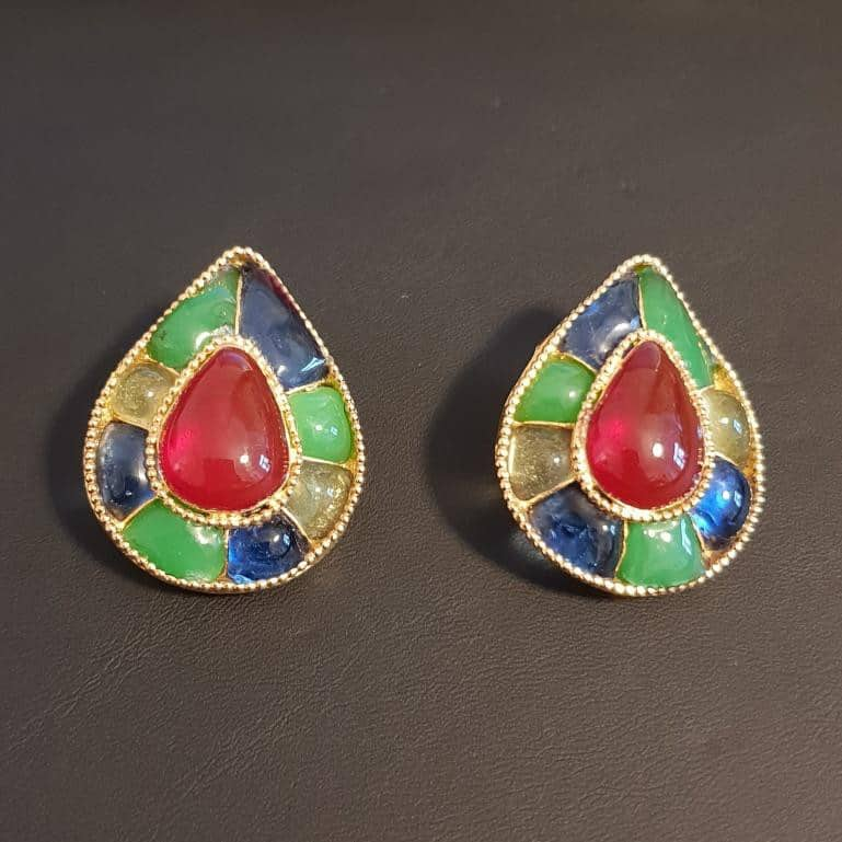 Chanel Collector Multi-color Gripoix Earrings 80s