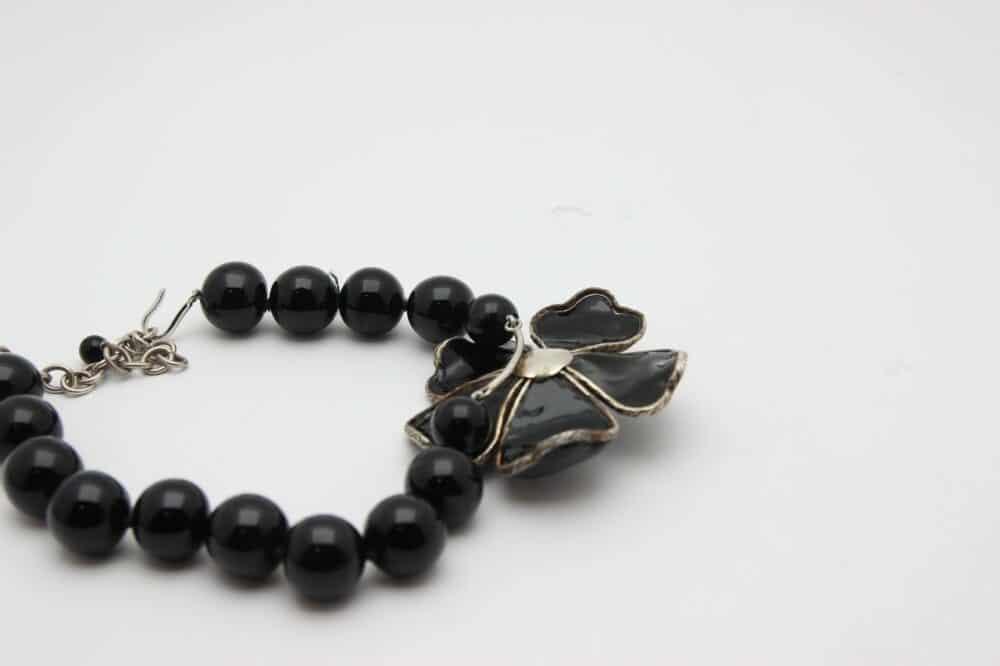 Rare Black Gripoix Camelia necklace for Chanel prototype c.2005