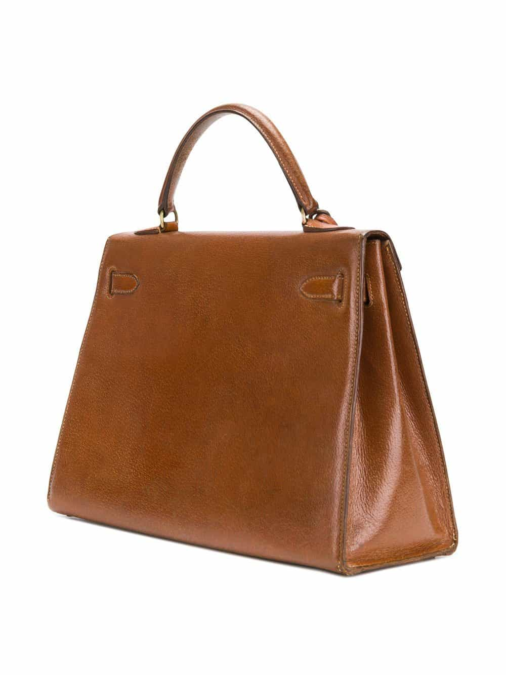 Rare Hermès vintage Kelly Sellier gold Pecari leather 60s collector