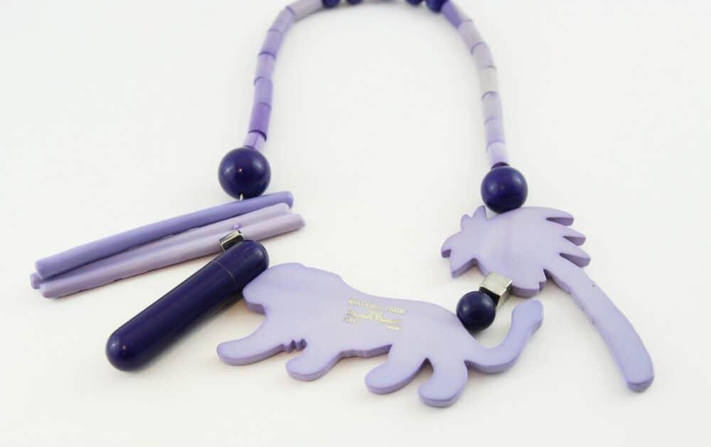 Isadora Paris rare panther purple perfume necklace 1976